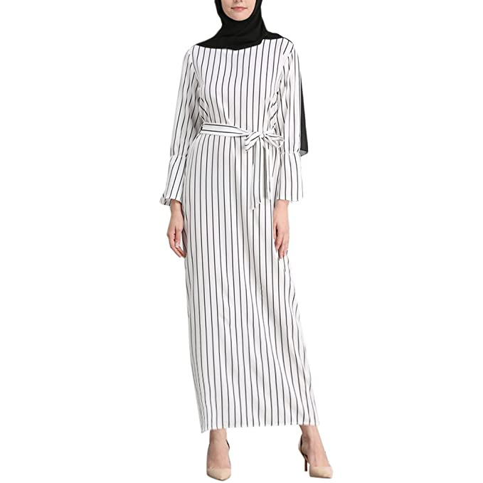 Zhhlinyuan Elegante Abaya Dresses Mujer Raya Modesto Largo Vestidos Abaya  Manga Completa Musulmanes Ropa Kaftan Estilo  Amazon.es  Ropa y accesorios f86f1db5ad8d