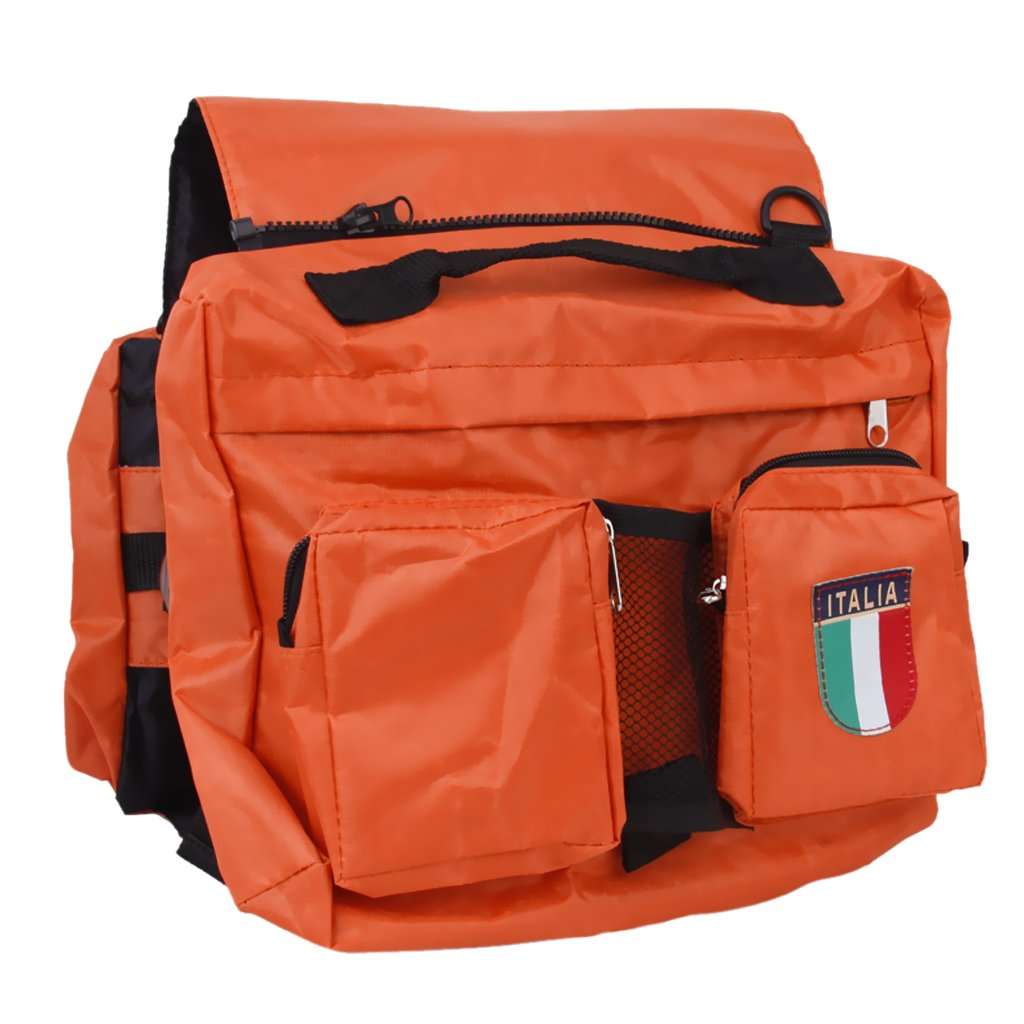 Saddle Bag Pet Dogs Backpack Travel Hiking Harness Pack-orange and Green  Comes with One Mesh Holder, Hold Some Food for Your Dog