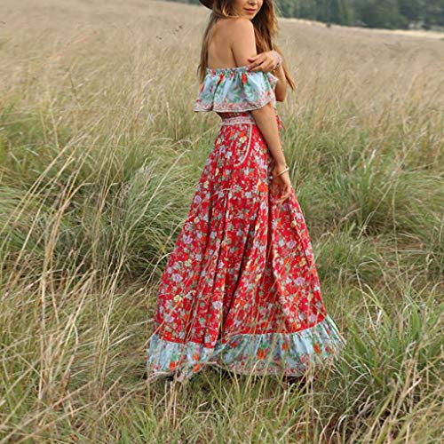 Women Dresses For Special Occasions Sexy Cocktail,Women's Summer Bohemian Printed Waist V-Collar Chiffon Beach Long Dresses by SUNSEE WOMEN'S CLOTHES PROMOTION (Image #2)