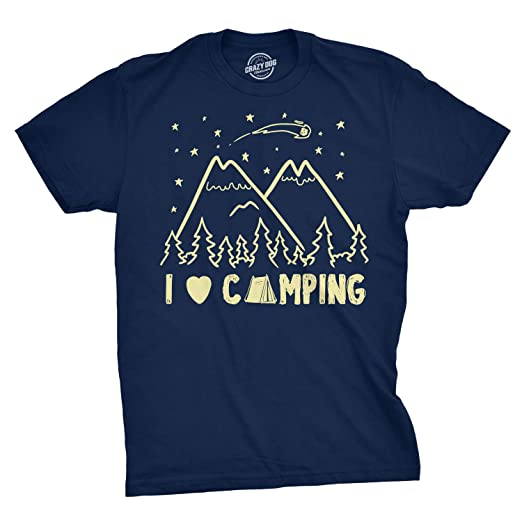 476675f9a6 I Love Camping T Shirt Funny Summer Outdoor Forest Tee Camp in Tents (Blue)