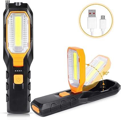 Linkax Linterna de trabajo LED recargable 2 en 1 Luz de trabajo recargable COB Linterna trabajo l/ámpara de inspecci/ón con clip magn/ético Rojo, 2 Piezas