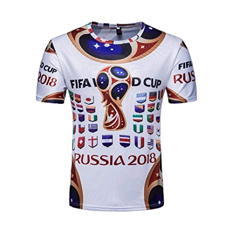 95c8329b716 Image Unavailable. Image not available for. Color  Scshirt 2018 Casual FIFA  Russia World Cup Print Soccer Fans Tee T-Shirts ...