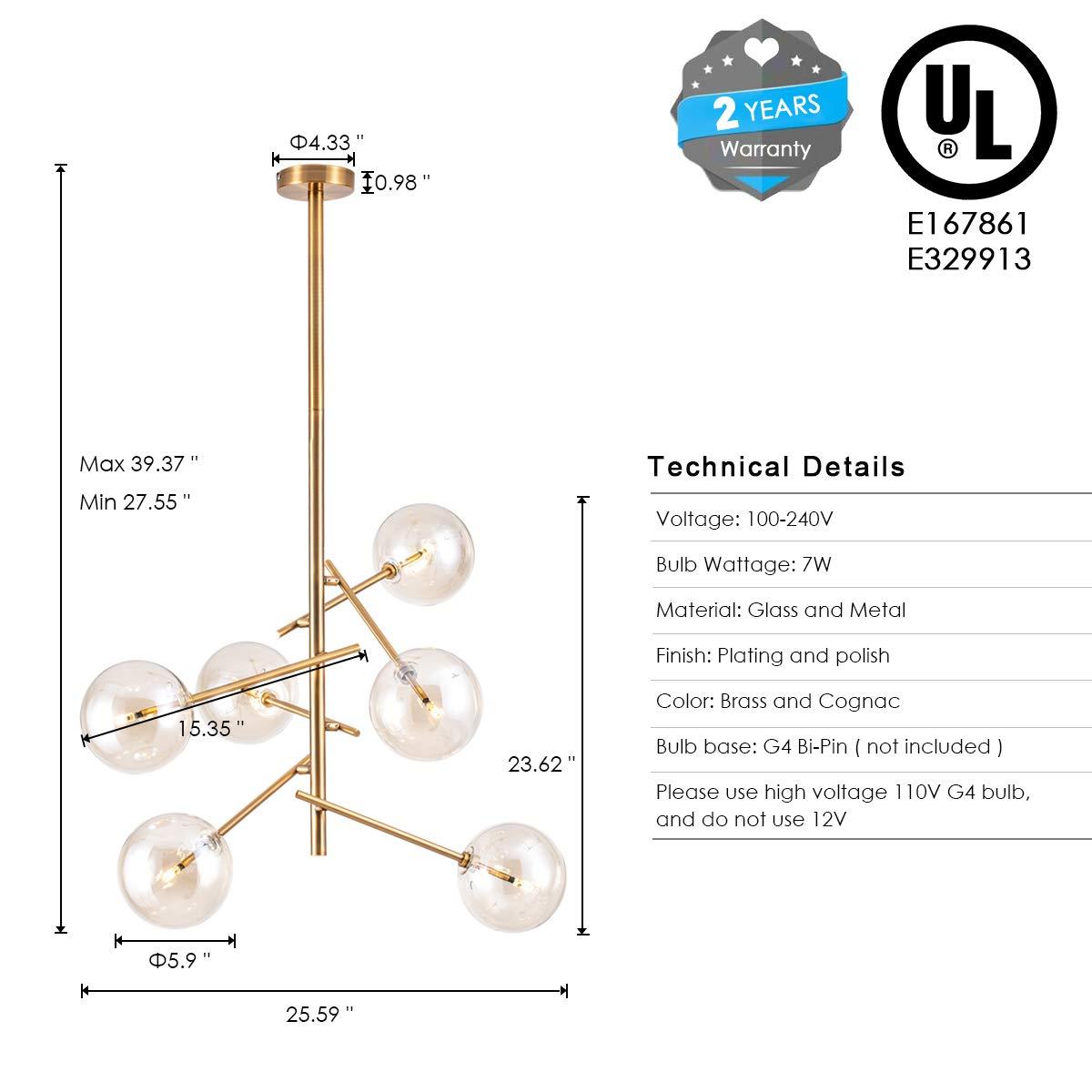 inspiring mid century hanging light bedroom | CHEAP Modern Sputnik Chandelier 6 Lights Mid Century Brass ...