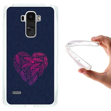 WoowCase Funda LG G4 Stylus, [LG G4 Stylus ] Funda Silicona Gel Flexible Corazón de Plumas, Carcasa Case TPU Silicona - Transparente