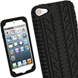 iGadgitz Black Silicone Skin Case Cover with Tyre Tread Design for Apple iPod Touch 6th Generation (July 2015 onwards) & 5th Generation (2012-2015) + Screen Protector