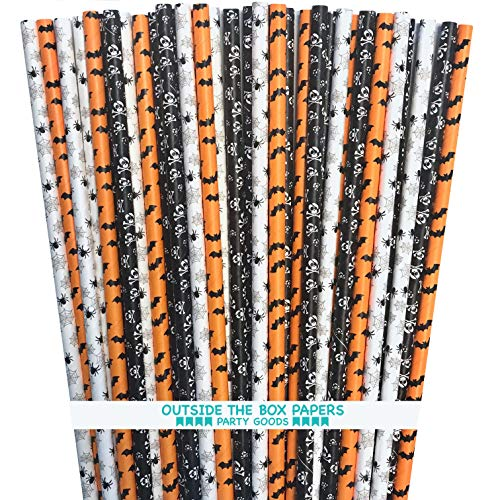 (Halloween Paper Straws - Bat Skull Spider - Black White Orange - 150 Pack Outside the Box Papers)