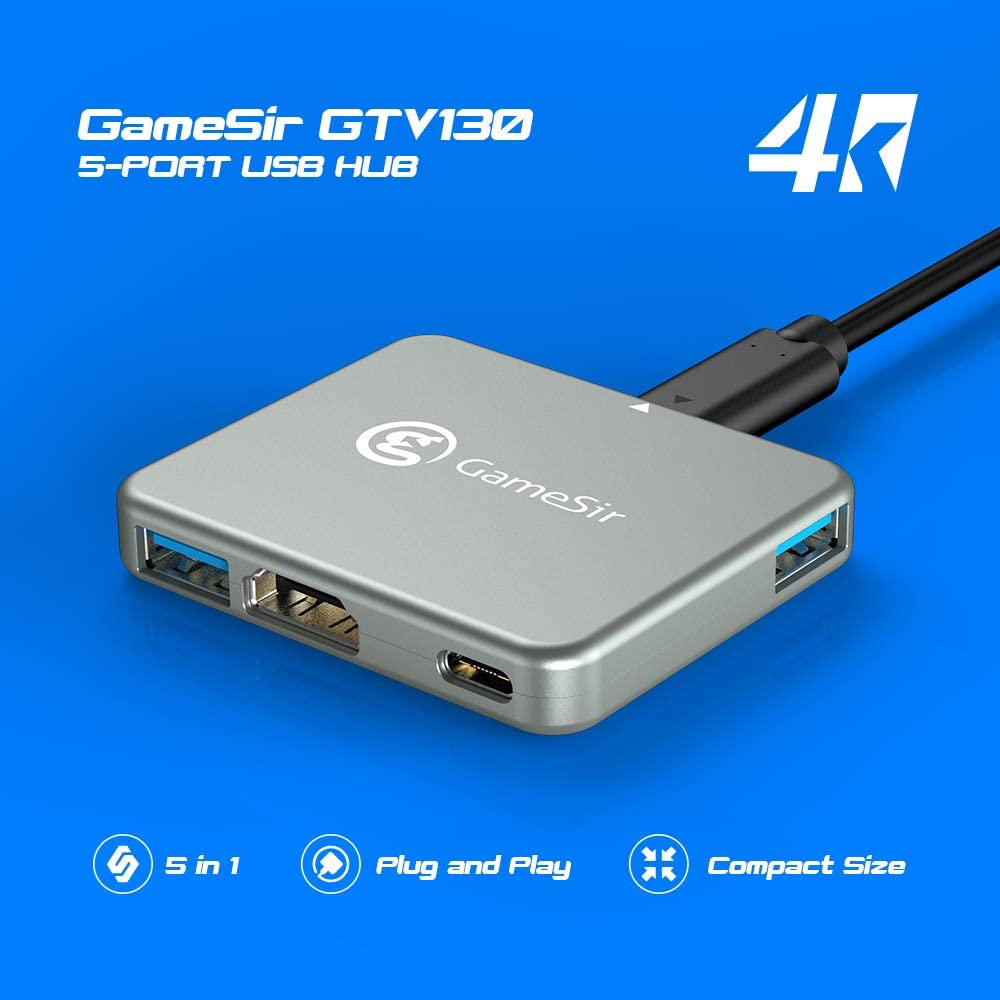 GameSir GTV130 4K HD HDMI USB Type C Hub Adapter for Nintendo Switch, 5-Port TV Converter Dock Cable for Switch, Compatible with Samsung Huawei Microsoft Lumia Smartisan Nut R1
