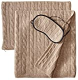 Sofia Cashmere 100% Cashmere Cable Travel Set with Blanket, Pillow Case, and Eye Mask, Taupe, One Size
