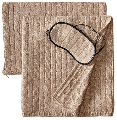 Sofia Cashmere 100% Cashmere Cable Travel Set with Blanket, Pillow Case, and Eye Mask, Taupe, One Size by Sofia Cashmere