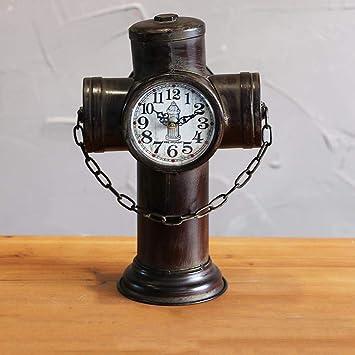 Hongge Relojes de Chimenea,Retro Hierro hidrante antesala casa Creativa los Ornamentos de Mesa decoración pie Reloj 24.5x14x33cm: Amazon.es: Hogar