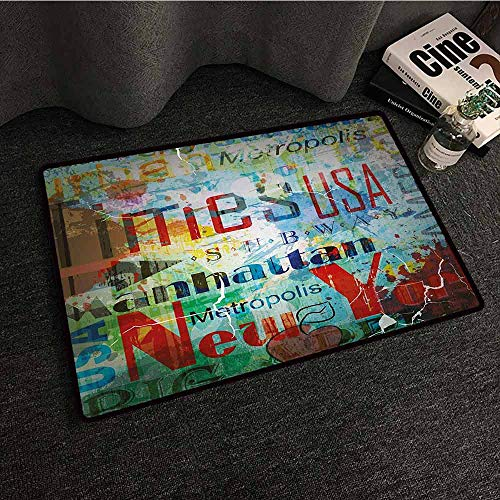 - DILITECK Washable Doormat New York Grunge Collage of Words American Culture Country Metropolis Modern Urban Design Personality W31 xL47 Multicolor