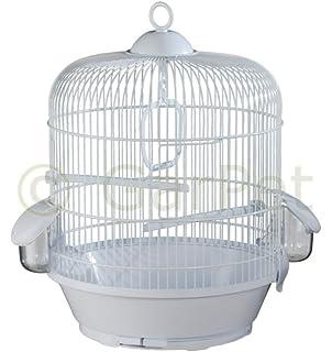 Vogelkäfig Komplett Wellensittich Kanarien Käfig Vogelbauer Rund Weiß