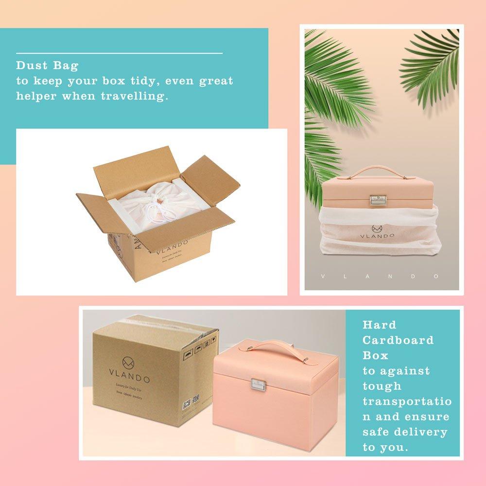 Vlando Jewelry Box, Faux Leather Medium Jewelry Organizer, Vintage gift for Women -Pink-Cross Pattern by Vlando (Image #7)