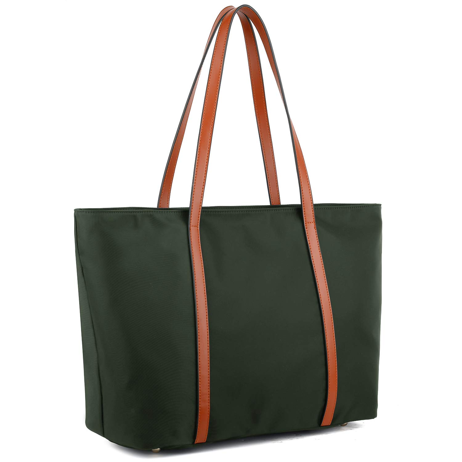YALUXE Tote for Women Leather Nylon Shoulder Bag Women's Oxford Nylon Large Capacity Work fit 15.6 inch brown&green