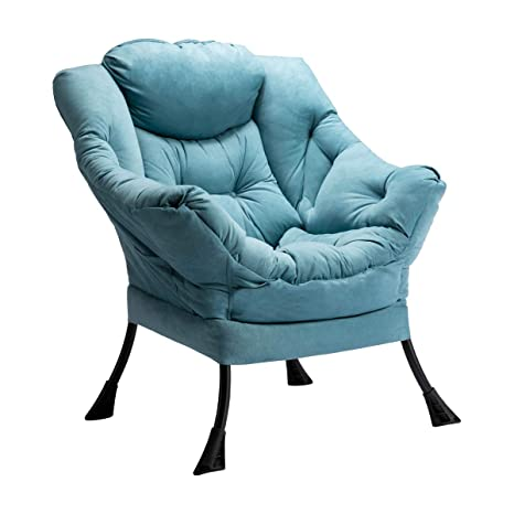 HollyHOME Modern Fabric Lazy Chair, Accent Contemporary Lounge Chair,  Single Steel Frame Leisure Sofa Chair with Armrests and A Side Pocket, Blue
