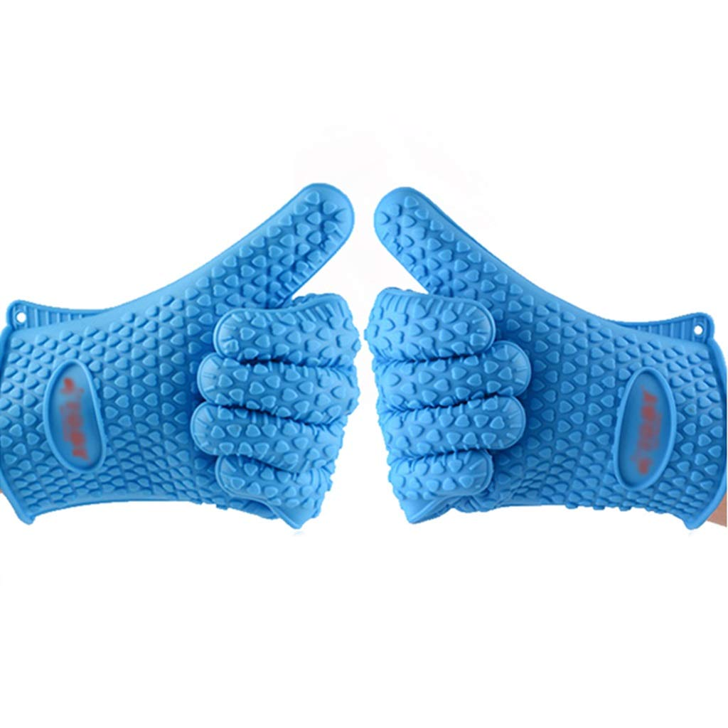 Ffl2019 Pet Gloves pet Bath Gloves Bath Brush Sticky Hair pet Silicone Brush Special Five-Finger Gloves pet Grooming Gloves Short Gloves Waterproof Anti-bite (Color : Blue, Size : 2717.5CM)