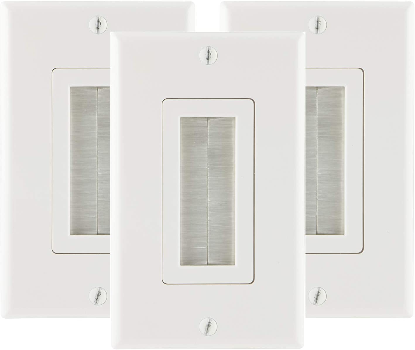 GE Brush Wall Plate, 3 Pack, Cable Pass Through Insert, Single Gang, Decora Style, for in-Wall Installation of Cables and Wires, HDTV, HDMI, Coax, Speaker Wire, Home Theatre Systems, White, 57375