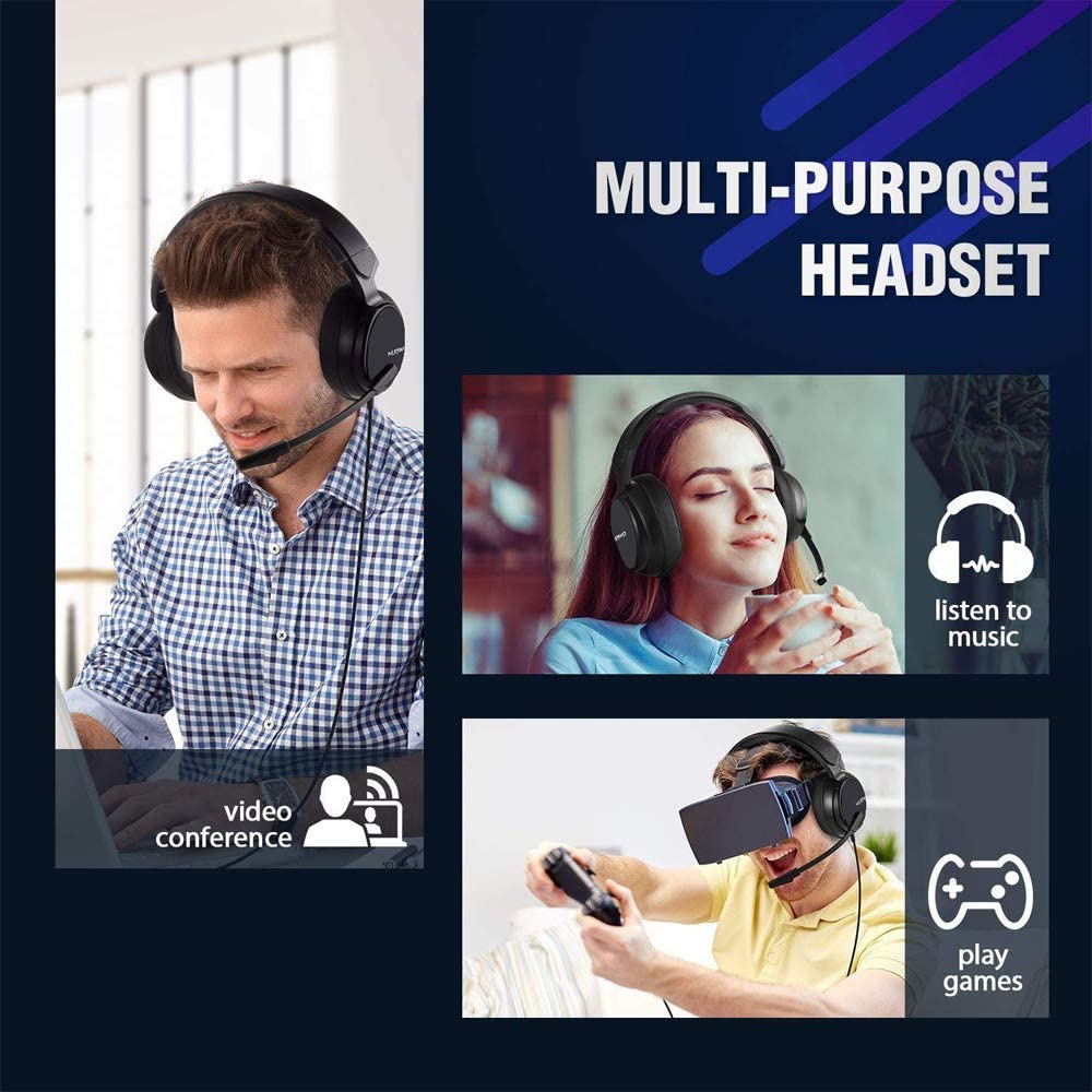 NUBWO N12 Gaming Headset Xbox one Headset PS4 Headset,3.5mm Surround Stereo Gaming Headphones with Mic Soft Memory Earmuffs for PC,Laptop, PS3, Video Game with Flexible Microphone Volume Control