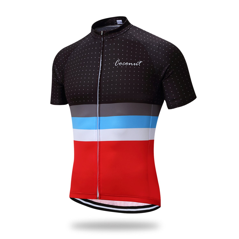 Coconut Men's Cycling Jersey Short Sleeve Road Bike Biking Shirt Bicycle Clothes (Red/Black, 2XL)