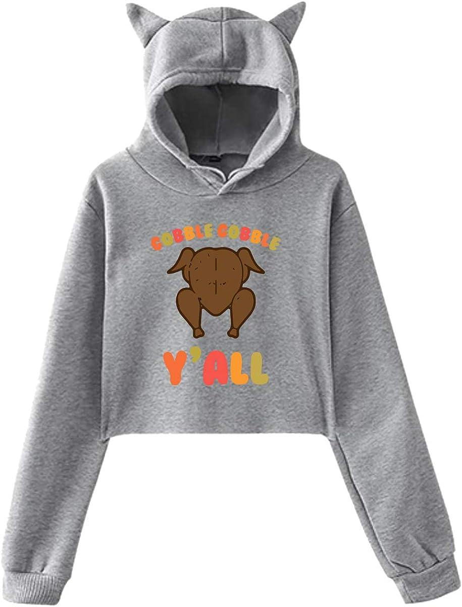Womens Cute Cat Ear Hoodie Sweatshirts Gobble Yall Thanksgiving Day Setu Asana Hoody Sweater