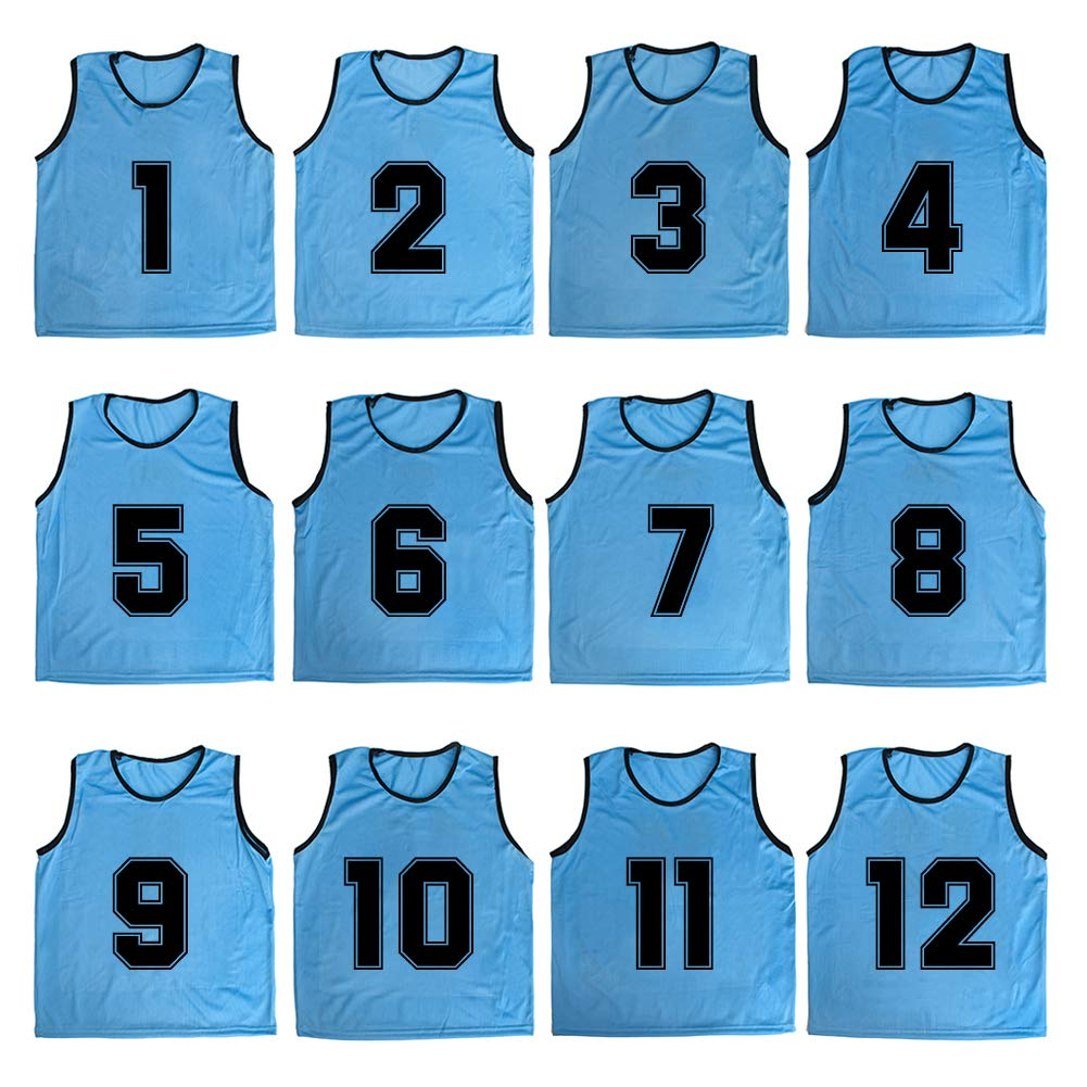 TOPTIE Numbered/Blank Scrimmage Team Practice Mesh Jerseys Vests Pinnies (12-Pack)-LightBlue (#1 to 12)-Adult by TOPTIE