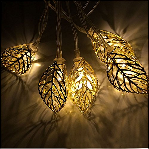 JOJOO 20 LED 16 ft/ 4.9m Tree Leaf Solar String Lights Metal Ornament Lights for Outdoor, Indoor, Garden, Wedding, Patio, Halloween and Christmas, Amber LT038 (Amber Amber Solar Lights)
