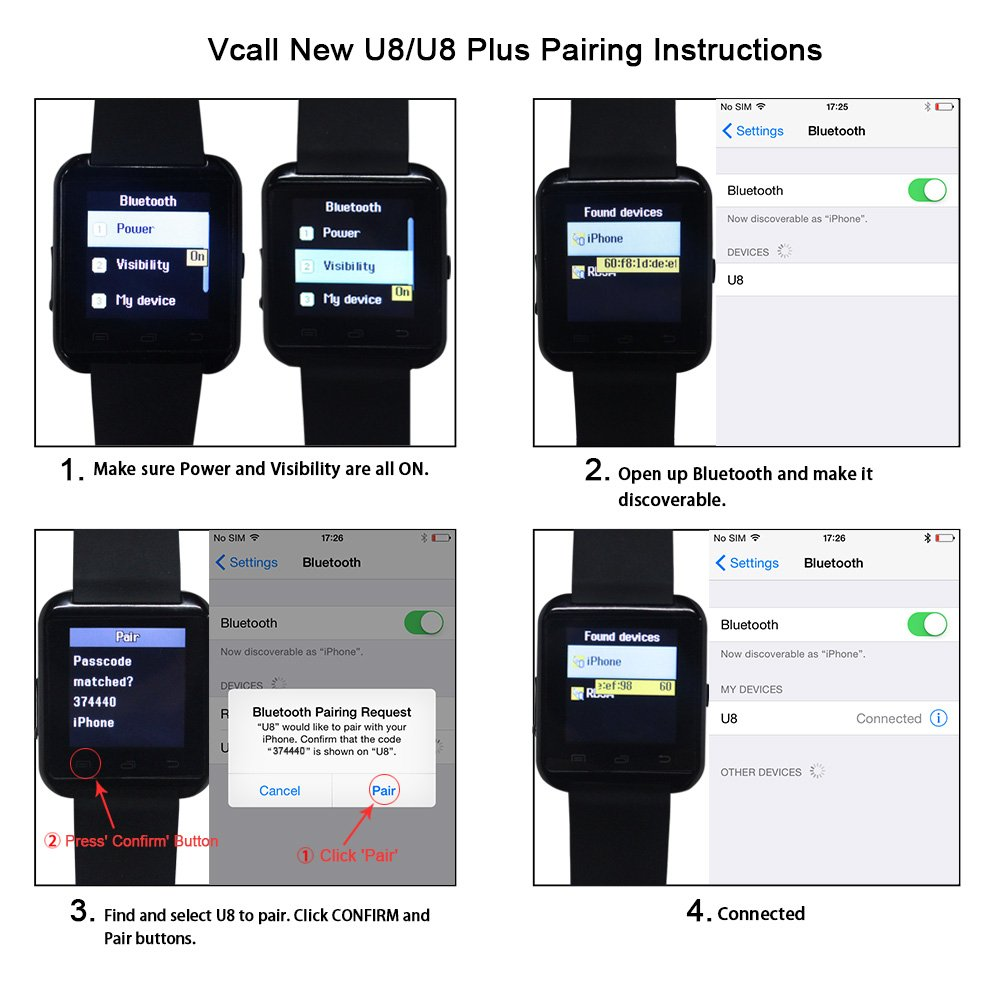 Vcall nueva U8 Bluetooth reloj inteligente SmartWatch Reloj de pulsera batería de larga vida teléfono mate para Samsung Huawei Android Smart teléfonos ...