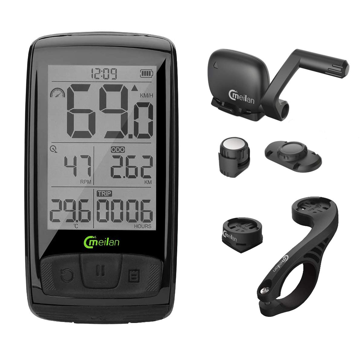 Meilan M4 Bike Computer Wireless 2.5 Inch IPX5 Waterproof Cycling Computer Bicycle Speedometer and Odometer Cycle Computer with ANT+ Speed & Cadence Sensor