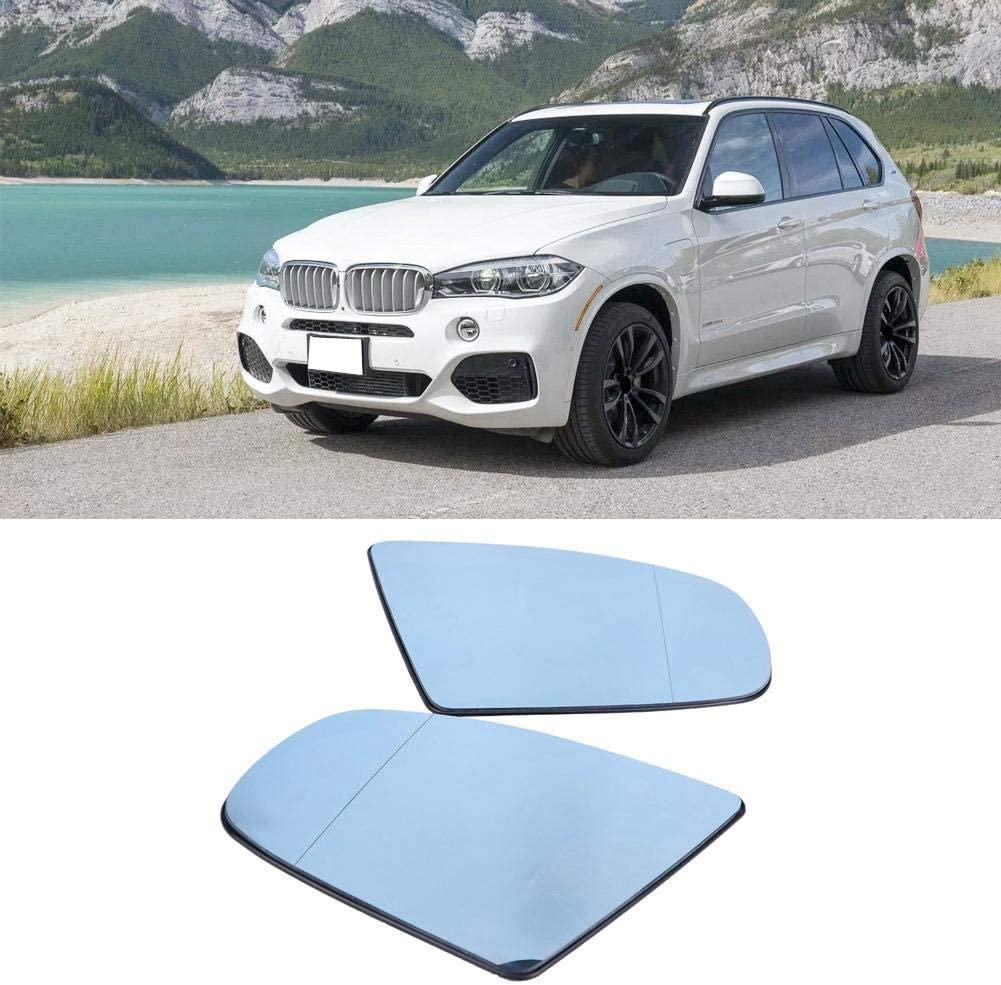 1 Pair of Left /& Right Door Side Heated Wing Mirror Glass for BMW X5 E70 2008-2013. Side Mirror Color : White Blue and White