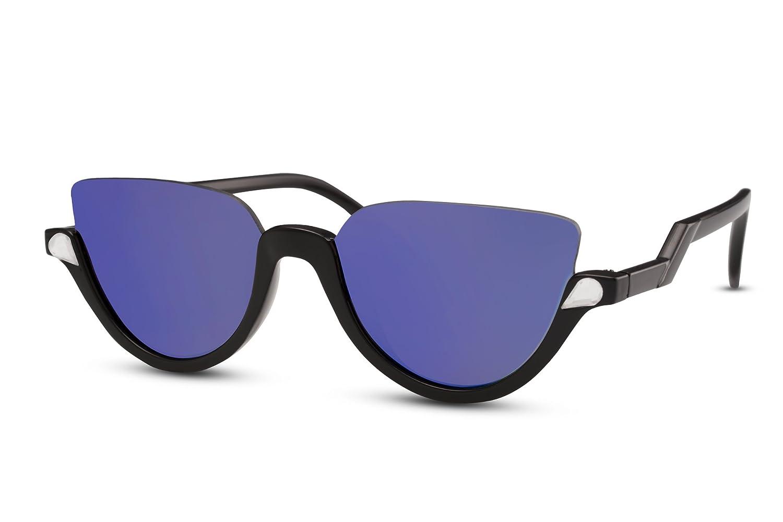 Cheapass Gafas de sol Redondas Negras Espejadas Azules ...