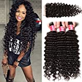 Nadula Brazilian Deep Wave 3 Bundles With Closure 8A 100% Unprocessed Brazilian Remy Virgin Human Hair Bundles Weave Natural Color (10 with 12+14+16)
