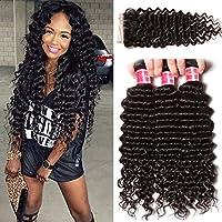 Nadula Brazilian Deep Wave 3 Bundles With Closure 8A 100% Unprocessed Brazilian Remy Virgin Human Hair Bundles Weave Natural Color (14 with 16+18+20)