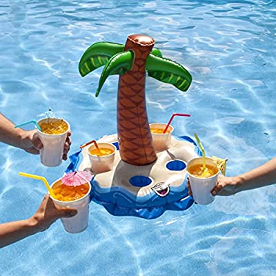 BigMouth Inc Inflatable Palm Tree Multi-Drink Float, Floating Drink Holder for Pools, Hot Tubs, Lakes: Toys & Games