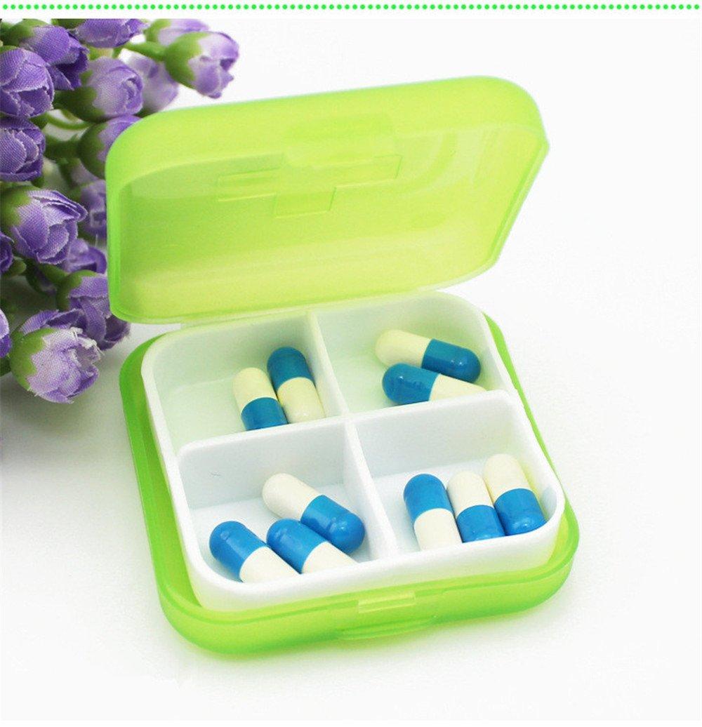Gotian Mini 4 Slots Portable Medical Pill Box Drug Medicine Case Organizer - Cross Plastic Small Pill Box with Medicine Storage Box - Specially Designed for Storage Pills (Green)
