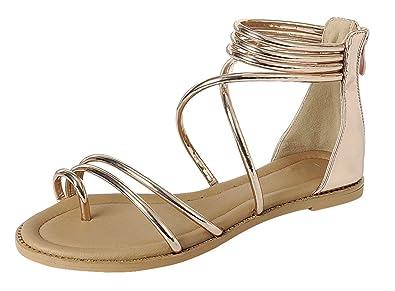 a1439165083b Cambridge Select Women s Crisscross Ankle Strappy Toe Ring Flat Sandal (5  B(M)