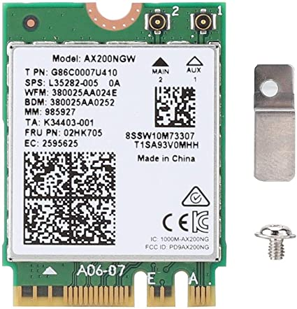 Tarjeta WiFi de Banda Dual, Tarjeta de Red inalámbrica para Intel AX200NGW, Tarjeta inalámbrica de Banda Dual AX200NGW WiFi 6 NGFF / M2 2.4Gbps + ...
