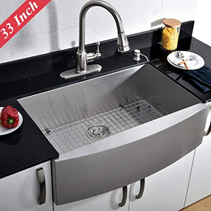 VCCUCINE Commercial 33-inch Farmhouse Apron Undermount Handmade Single Bowl  Brushed Nickel Kitchen Sink, 304 Stainless Steel Satin Brushed Finished ...