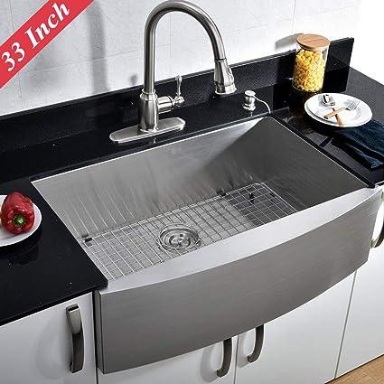 vccucine commercial 33 inch farmhouse apron undermount handmade rh amazon com polished nickel kitchen sink brushed nickel kitchen sink