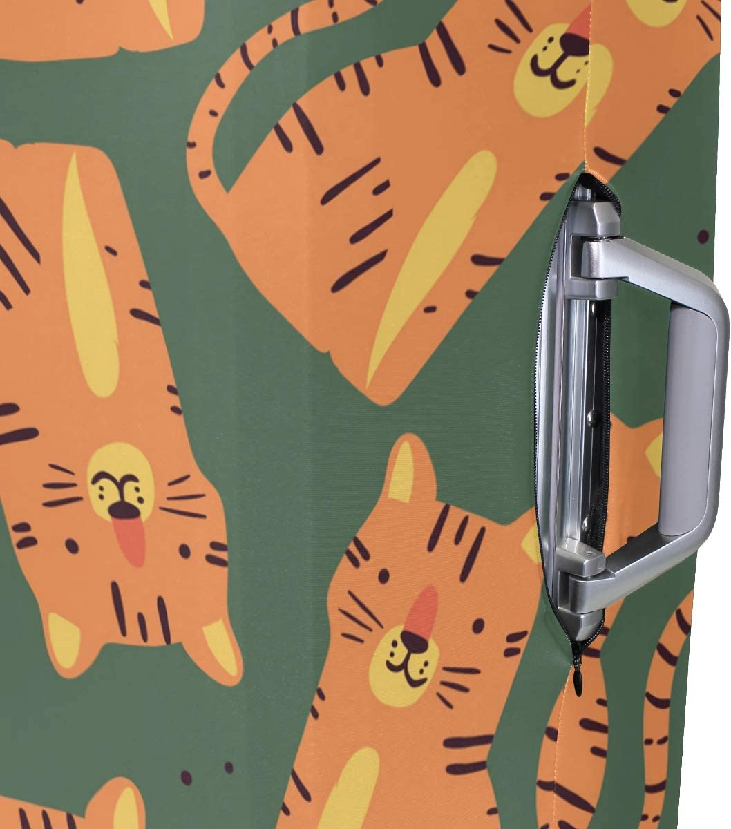 Baggage Covers Orange Cats Pttern Army Green Background Washable Protective Case