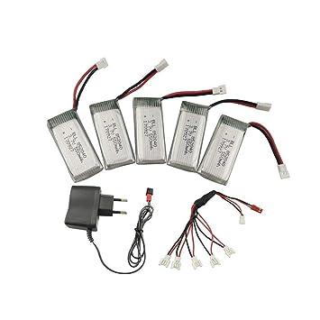 Fytoo 5PCS 3.7 V 550mah Lipo Batería y Cargadore para JXD 523 523W ...