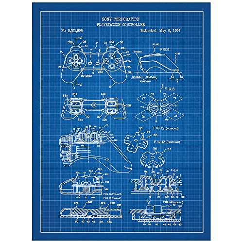 """Price comparison product image Inked and Screened Video Games """"Playstation Controller"""" Print,  Blue Grid - White Ink"""