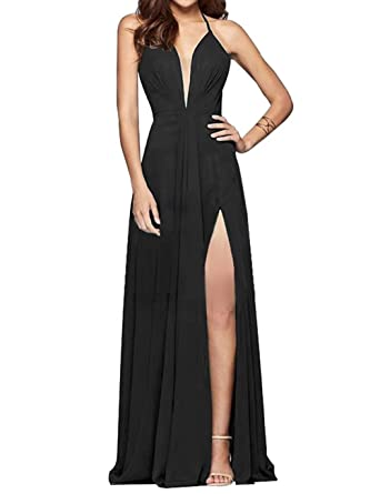 YOUTODRESS Womens Prom Dresses Split Halter Backless Chiffon Bridesmaid Evening Gowns 2018