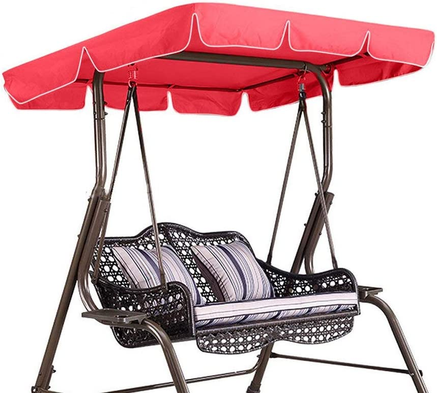 Swing Chair Seat Top Cover Waterproof Rainproof Dust Guard Protector Swing Canopy Top Cover Replacement for Outdoor Porch Patio Yard Garden Hammock(Red)
