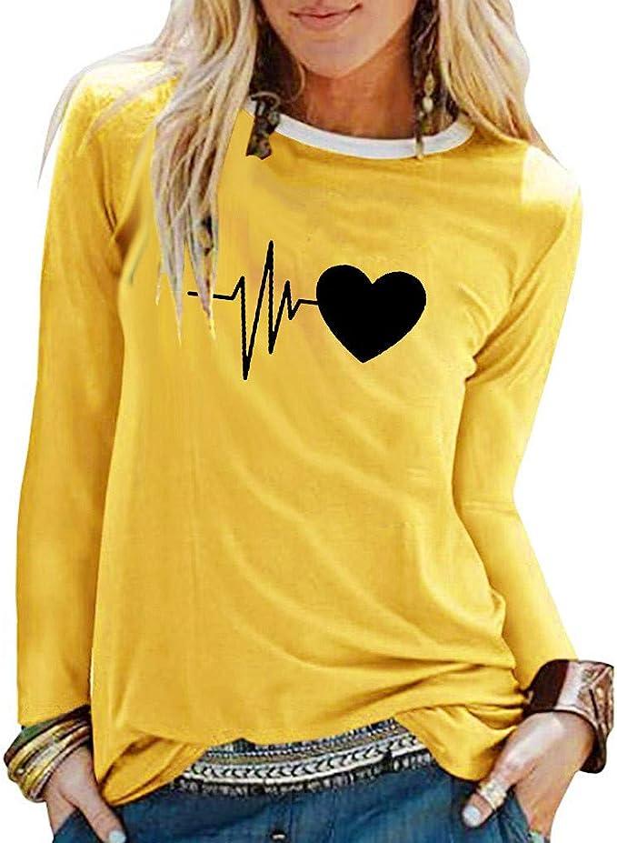 ALISIAM Camiseta de otoño para Mujer Blusa con Estampado de Moda O ...