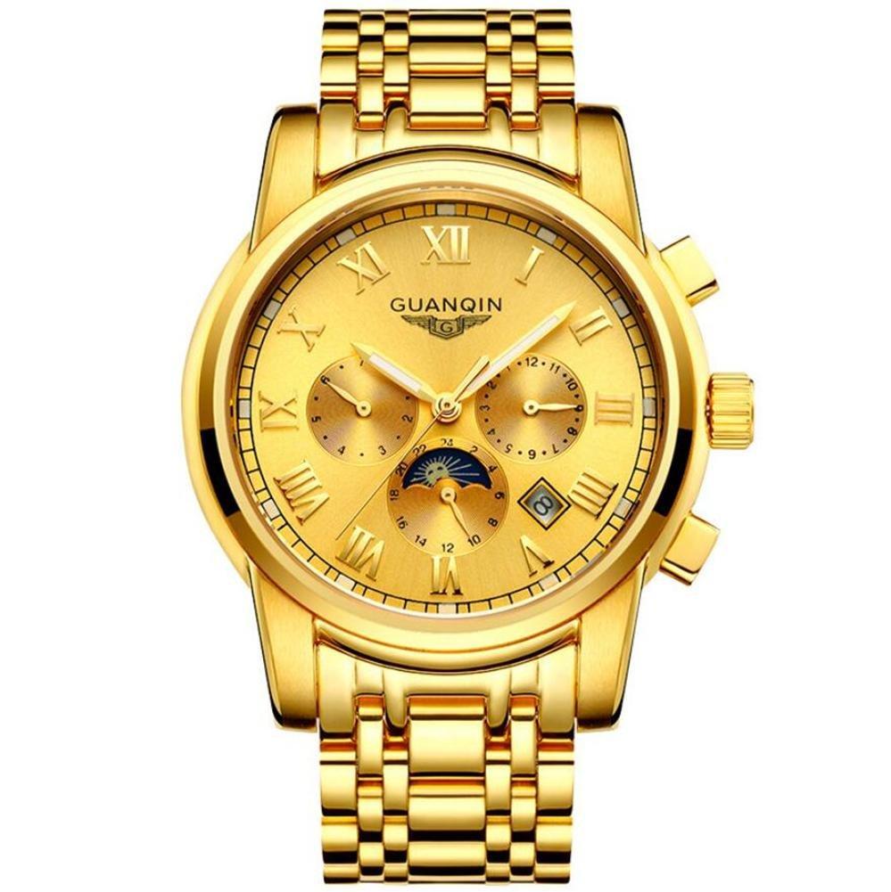 GUANQIN Herren Hohl Automatik Mechanische Uhr 18k Gold Uhr Multifunktions - Edelstahl Edelstahlband