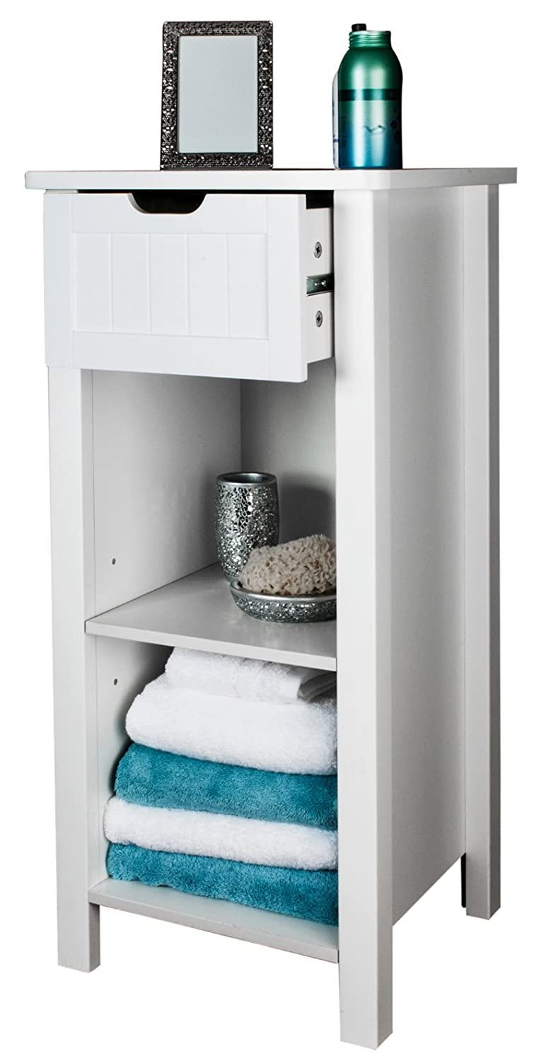 (74740 CO) Open cabinet with drawer - Beautiful White wooden cabinet with area with adjustable Shelf, Freestanding, suitable for any room including bathroom and bedroom Elegant Brands