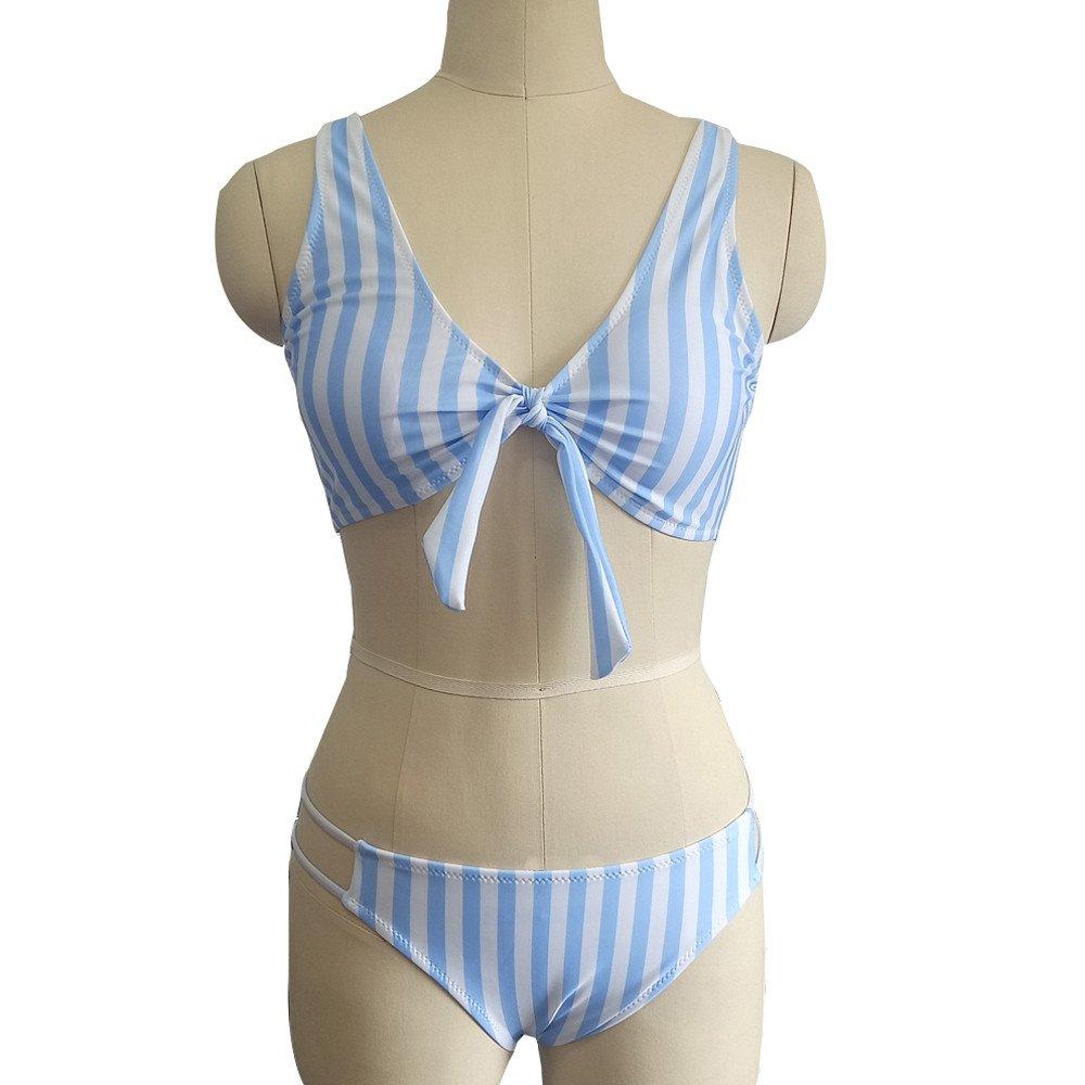 Duseedik Women's Swimsuit Sexy Polka Dot Bow Detachable Padded Cutout Push up Striped Bikini Set Blue by Duseedik (Image #3)
