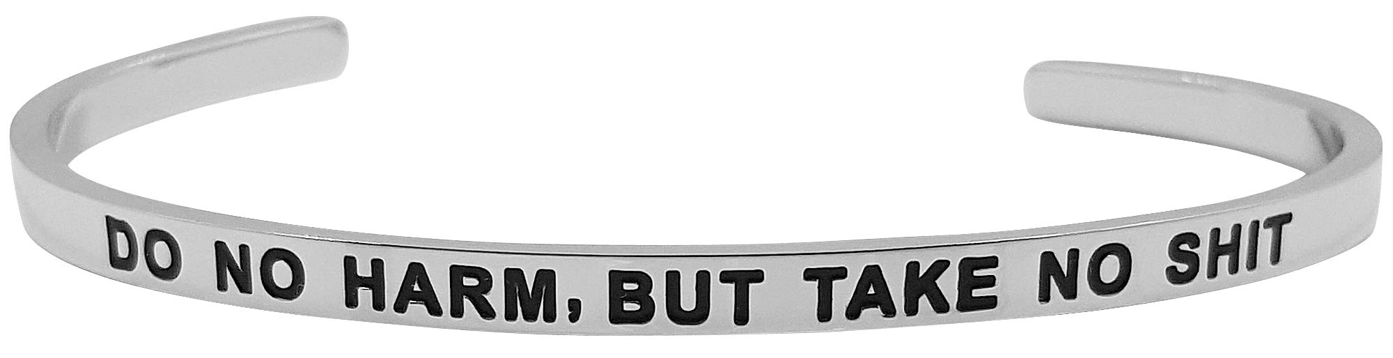 Do No Harm Inspirational Mantra Feminist Quote Cuff Bangle Bracelet - Christmas, Birthday Jewelry Gifts for Women, Teen Girls, Sister, Niece, Daughter