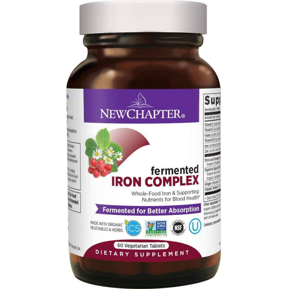 New Chapter Iron Supplement, Fermented Iron Complex (Formerly Iron Food Complex) with Organic Whole-Food Ingredients + Promotes Healthy Iron Levels + Non-Constipating - 60ct (Packaging May Vary)