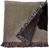 Pure Country Weavers – Boxer with Puppy Woven Throw Blanket with Fringe Cotton. USA Size 54×54